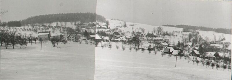 Sklenařice od kravína, předjaří v roce 1973